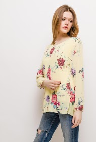 BELLOVE floral pleated blouse