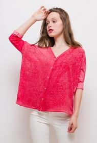 BLOSSUN bi-material linen vest