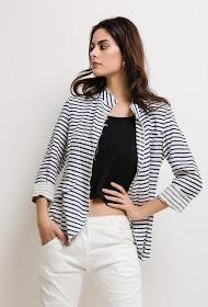 BLOSSUN striped linen jacket