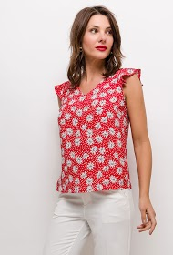 CERISE BLUE polka dot blouse with flowers