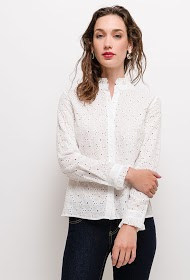 CERISE BLUE embroidered and perforated shirt