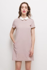 CERISE BLUE dress with embroidered collar