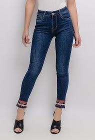 CHIC SHOP jean com tornozelos bordados