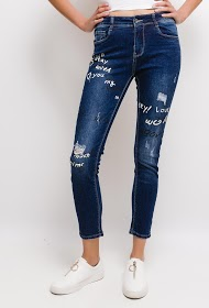 CHIC SHOP torn and printed jeans