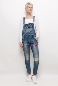 CHIC SHOP denim overalls with embroidered flowers
