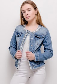 CHIC SHOP denim jacket with pearls