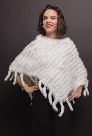 CHOKLATE poncho in real fur
