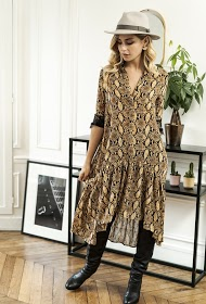 CHOKLATE dress with python print