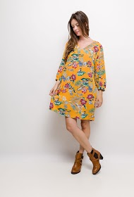 CHRISTY straight dress with flowers print