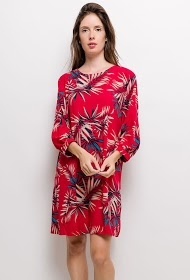 CHRISTY straight dress with tropical print