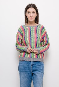 CIMINY round neck sweater with multicolor message