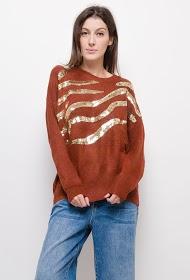 CIMINY sweater med rund hals med rhinestones