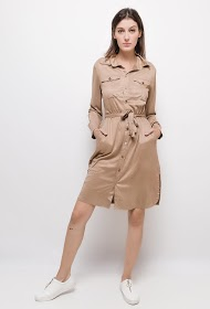 CIMINY buttoned dress with suede effect