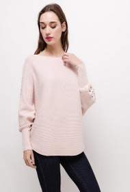 CLARA. S sweater with lace and pearls