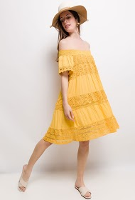 COLYNN bi-material dress