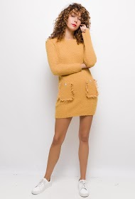 COLYNN loop knit sweater dress with pockets