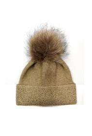 DA FASHION rhinestone fur pompom hat