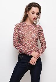 DAYSIE floral fishnet blouse