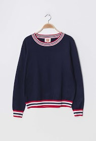 ESCANDELLE sweater with striped ribbed edge
