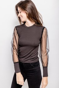 ESTEE BROWN blouse with transparent sleeves