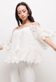 ESTEE BROWN lace blouse
