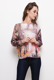 ESTEE BROWN printed knit blouse