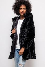 ESTEE BROWN abrigo reversible en chaqueta con capucha de piel