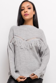 ESTEE BROWN sweater with fringes