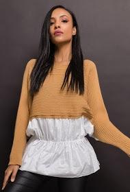 ESTEE BROWN bi-material sweater