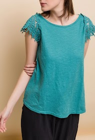 ESTEE BROWN t-shirt with lace