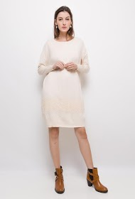 ESTHER.H PARIS sweater dress with lace and rhinestones