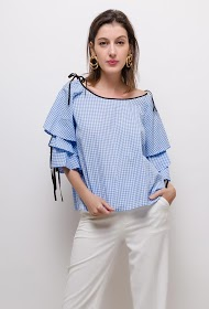 FLAM MODE gingham blouse