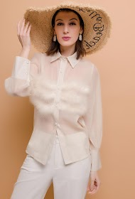 FLAM MODE transparent shirt with feathers