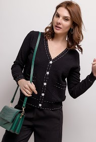 GG LUXE openwork knitted cardigan
