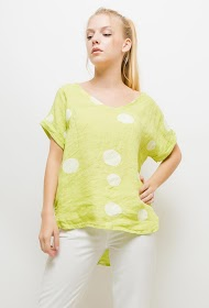 HAPPY LOOK linen polka dot blouse