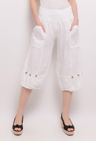HAPPY LOOK linen cropped pants
