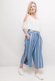 HAPPY LOOK linen striped trousers