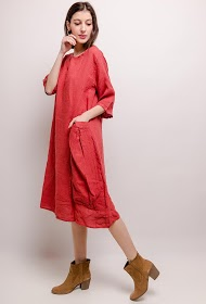 HAPPY LOOK long linen dress