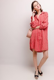 HAPPY LOOK striped linen dress
