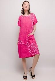 HAPPY LOOK linnen jurk met stippen