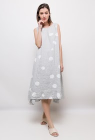 HAPPY LOOK linen polka dot dress