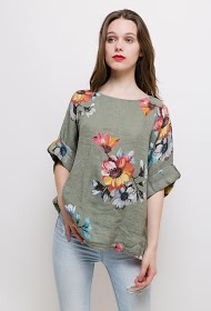 HAPPY LOOK floral linen blouse