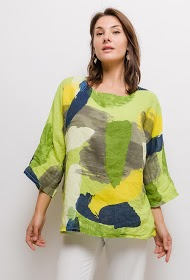 HAPPY LOOK printed linen blouse
