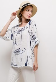 HAPPY LOOK fish print blouse