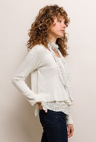 HAPPY LOOK bi-material sweater with scarf