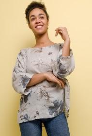 HAPPY LOOK floral linen blouse