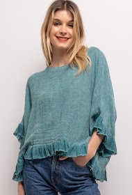 HAPPY LOOK cotton ruffled blouse