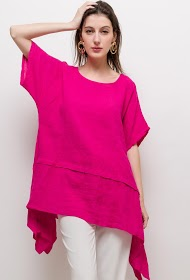 HAPPY LOOK asymmetric linen tunic