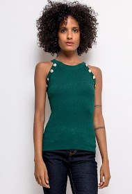 IM SHOP tank top with gold buttons