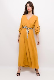IM SHOP pleated long dress with belt